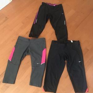 Bundle of 3 Pairs Nike Workout Capri's